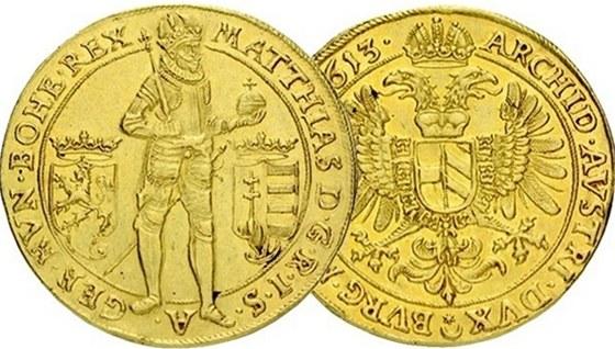 Matyáš II. 10 dukát 1613, Praha – Hübmer