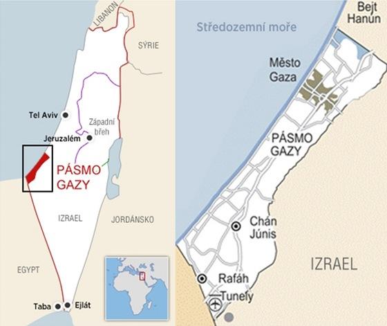 Mapka pásma Gazy
