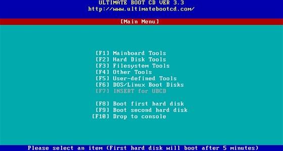 Nástroje z Ultimate Boot CD pracují v jednoduchém grafickém prostředí a jsou