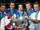 VÍTĚZNÁ SESTAVA. Čeští tenisté (zleva) Ivo Minář, Lukáš Rosol, Radek Štěpánek,
