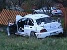 Auto na rallye u Lopeníku vyletělo z trati a zabilo čtyři diváky. (10.