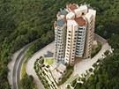 Hongkongský komplex Opus - letecký pohled