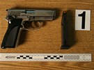 Jedna ze dvou plynových pistolí, kterými byl ozbrojený lupičský pár, který za