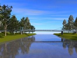 Vizualizace podoby mostu, který nahradí v Přerově u tenisových kurtů zničenou