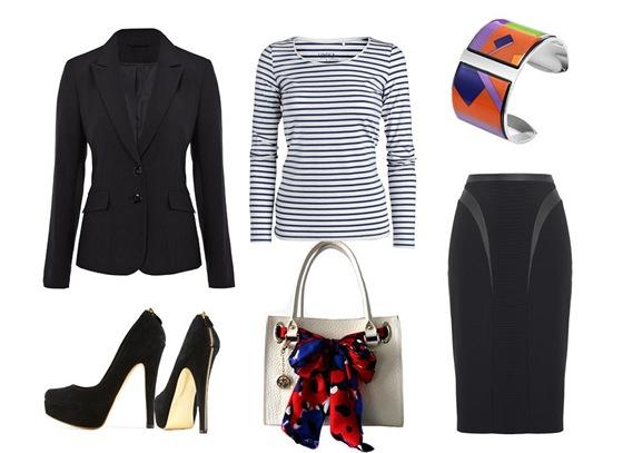 Pruhované tričko, Lindex; černé sako, F&F; úzká černá sukně, Marks&Spencer;