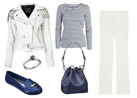 Pruhované tričko, Lindex; bílá kožená bunda, Topshop; bílé smokingové kalhoty,