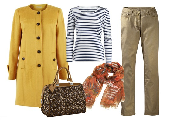 Pruhované tričko, Lindex; žlutý kabát, Stefanel; lesklé kalhoty, Takko; kožená