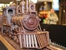 Čokoládová replika parní lokomotivy