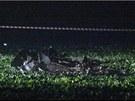 Trosky bitevníku byly rozesety několik desítek metrů od místa dopadu.
