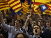 Katalánci hlasitě volají po nezávislosti na Španělsku (11. září 2012).