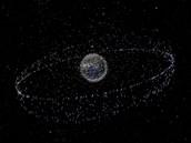 Zobrazení vesmírných trosek na zemské oběžné dráze