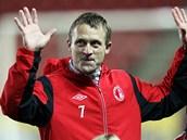 LOUČENÍ LEGENDY. Slávistický útočník Stanislav Vlček se dočkal už před zápasem oficiálního rozloučení se svou kariérou.