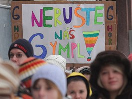 Protest studentů hořického gymnázia v Hradci Králové (2. listopadu 2010)