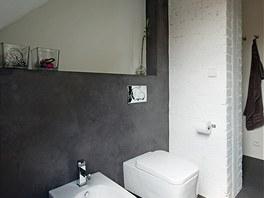 Těleso komínu je natřeno bílou barvou a tvoří efektní dominantu koupelny.