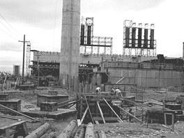 Záběr na staveniště B reaktoru pro výrobu plutonia v Hanford Site