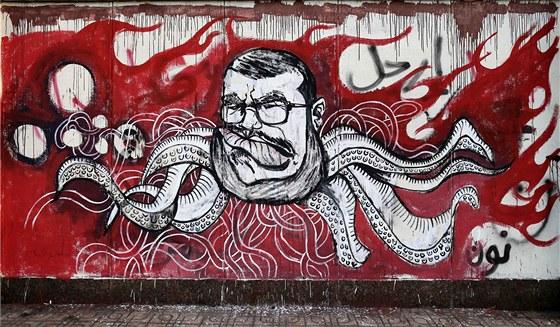 Graffitti znázorňující Muhammada Mursího na venkovní zdi prezidentského paláce