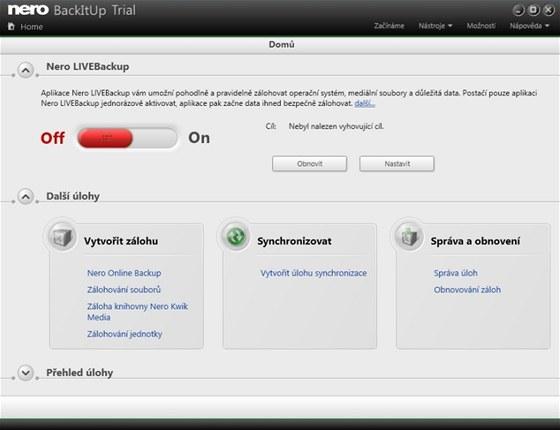 Zálohovací aplikaci Nero BackItUp není třeba zdlouhavě nastavovat, ihned po své