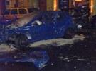 Nehoda na ulici 28. října v Ostravě, kterou způsobil opilý osmnáctiletý řidič.