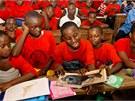 Africké děti si díky pohádkám vytvářejí pouto ke gorilám.