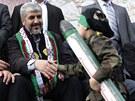 Šéf Hamasu Chálid Mišal se na oslavě 25. výročí založení hnutí zdraví s