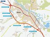 Mapa nového obchvatu Kolína.