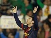 Argentinský útočník Lionel Messi z Barcelony slaví gól.