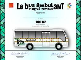 Pamětní list pro ty, kdo přímo v pražské zoo darují na projekt Toulavý autobus...