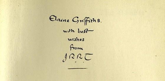 Vydání Hobita s Tolkienovým věnováním Elaine Griffithsové bylo vydraženo za 60