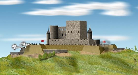 Brněnský Špilberk na počátku útoků Švédů na hrad v roce 1645. Na valech jsou