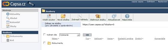 Capsa.cz - základní obrazovka
