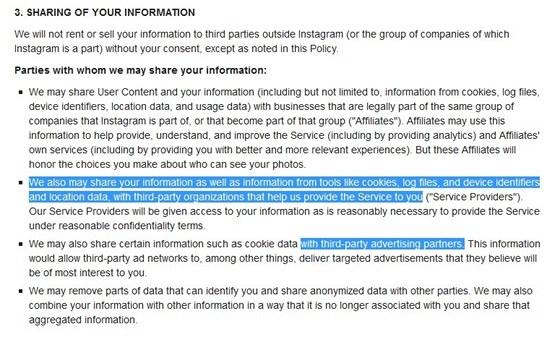 Části nových podmínek Instagramu, které citovala BBC jsou označeny modře.