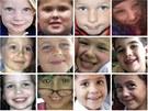 Tváře dvanácti z dvaceti dětí, které zemřely během střelby ve škole v Newtownu (16. prosince 2012)