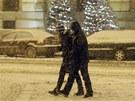 Silné sněžení překvapilo i obyvatele Prahy. (9. prosince  2012)