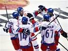JEDINÁ RADOST. Čeští hokejisté se radují po úvodní brance utkání na Channel One Cupu proti Finsku.