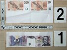 Zkušební výtisky padělků bankovek, které vyrobil patnáctiletý mladík z