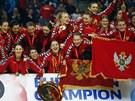 ŠAMPIONKY. Házenkářky Černé Hory slaví v Bělehradu titul mistryň Evropy.