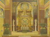Interiér kostela v roce 1918.