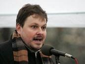 Hlavní organizátor demonstrace Radim Holeček z ODS