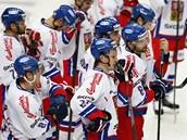 PROHRA. Čeští hokejisté po nevydařeném utkání proti Rusku.