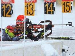 PRVNÍ TRIUMF. Česká biatlonistka Gabriela Soukalová vyhrála sprint Světového poháru v Pokljuce v polovině prosince 2012. Z památného závodu je tento snímek.