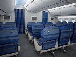 Pohled do ekonomické třídy Dreamlineru polské společnosti LOT.