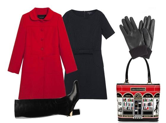Černé šaty, červený kabát, oboje Tara Jarmon; vysoké černé kozačky, Atelier