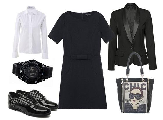 Černé šaty, Tara Jarmon; bílá košile, Jean-Paul Knott; lesklé polobotky se