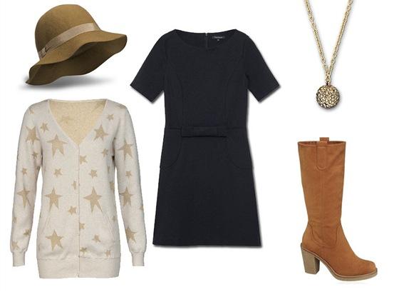 Černé šaty, Tara Jarmon, prodává Dušní 3; propínací svetry s hvězdami, New
