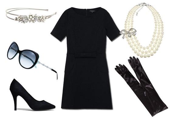 Černé šaty, Tara Jarmon, prodává Dušní 3; štrasová čelenka, GlitzySecrets.com;...