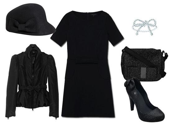 Černé šaty, Tara Jarmon, prodává Dušní 3; černá bunda s páskem, Burberry