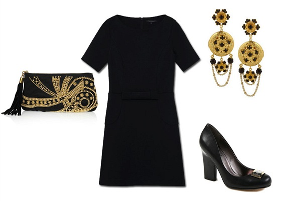 Černé šaty, Tara Jarmon, prodává Dušní 3; černé psaníčko se zlatou aplikací,