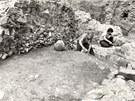 Historický snímek archeologického průzkumu v místě stavby olomouckého