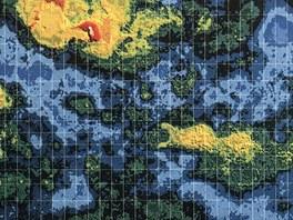 """Topografická mapa Venuše s barevně odlišenou """"nadmořskou"""" výškou."""