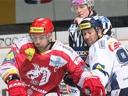 SOUBOJ VETERÁNŮ. Třinecký Radek Bonk (vlevo) a vedle něj Petr Nedvěd z Liberce.